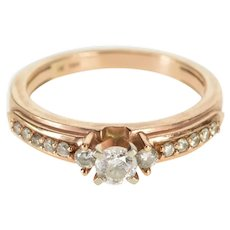 14K 0.45 Ctw Diamond Three Stone Accent Engagement Ring Size 6.75 Rose Gold [QWXW]