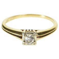 18K 0.12 Ct 1960's Diamond Solitaire Engagement Ring Size 5.5 Yellow Gold [QWXW]