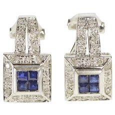 14K 0.60 Ctw Princess Sapphire Diamond French Clip Earrings White Gold  [QWXW]