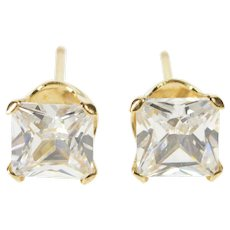 10K Princess Cubic Zirconia CZ Solitaire Stud Prong Earrings Yellow Gold  [QRXF]