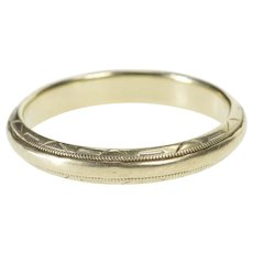 14K 3.5mm Patterned Rounded Classic Wedding Band Ring Size 8.5 White Gold [QWQX]