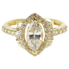 14K Marquise Halo Encrusted Travel Engagement Ring Size 6 Yellow Gold [QWQX]
