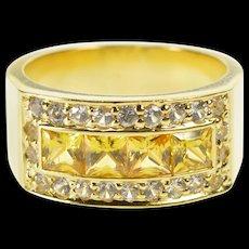 18K Princess Citrine Channel CZ Halo Fashion Band Ring Size 8.25 Yellow Gold [QWQX]