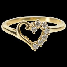 10K CZ Heart Love Romantic Anniversary Promise Ring Size 5.25 Yellow Gold [QWQX]