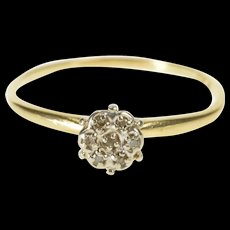 10K Retro 1960's Diamond Round Cluster Promise Ring Size 8.25 Yellow Gold [QWQX]
