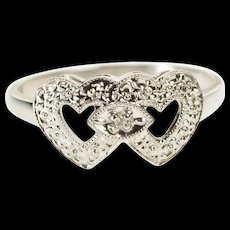 10K 1950's Retro Diamond Accent Heart Promise Ring Size 5.75 White Gold [QWQX]