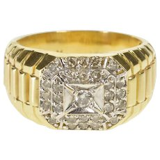 10K 1.00 Ctw Men's Diamond Cluster Wedding Band Ring Size 12 Yellow Gold [QWQQ]