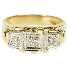 14K 0.50 Ctw Retro Diamond Three Stone Band Ring Size 8.75 Yellow Gold [QRXW]