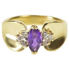 10K 0.45 Ctw Amethyst Diamond Accent Engagement Ring Size 5.25 Yellow Gold [QRXT]