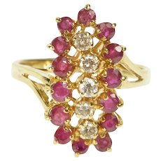 10K 1.14 Ctw Ornate Ruby Diamond Wave Cluster Ring Size 6 Yellow Gold [QWQQ]