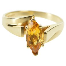 10K Marquise Citrine Alternative Engagement Ring Size 6.75 Yellow Gold [QWXW]