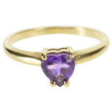 14K Heart Cut Prong Amethyst Anniversary Promise Ring Size 7 Yellow Gold [QRXT]
