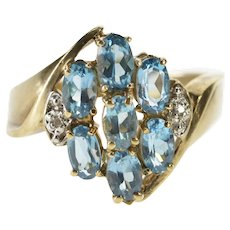 10K Oval Blue Topaz Cluster Diamond Cocktail Ring Size 7.25 Yellow Gold [QWXW]