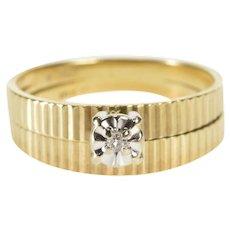 10K Retro Diamond Solitaire Bridal Set Engagement Ring Size 5.25 Yellow Gold [QWXW]