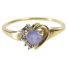 10K Heart Cut Tanzanite Diamond Accent Promise Ring Size 7.25 Yellow Gold [QWXW]