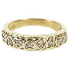 10K Retro Diamond Inset Heart Wedding Band Ring Size 6.5 Yellow Gold [QWXW]