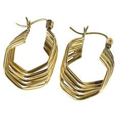14K Tiered Hexagonal Twist Tube Fashion Hoop Earrings Yellow Gold [QRXW]