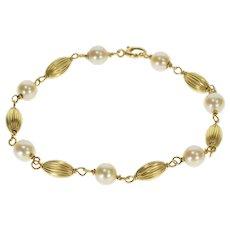 "14K Retro Pearl Scalloped Oval Bead Chain Bracelet 7"" Yellow Gold  [QRXT]"