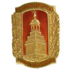 14K Orange Enamel Reading Hospital Nursing School Pin/Brooch Yellow Gold  [QWXR]