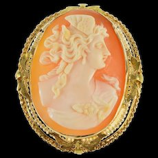 10K Ornate Athena Carved Shell Cameo Seed Pearl Pendant/Pin Yellow Gold [QRXW]