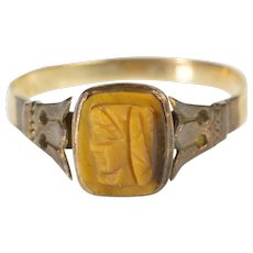 10K Carved Tiger's Eye Intaglio Victorian Fashion Ring Size 6.75 Yellow Gold [QWXR]