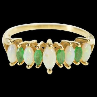 14K Marquise Natural Opal Emerald Inset Fashion Band Ring Size 9 Yellow Gold [QWXR]
