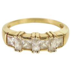 14K Princess Baguette Cubic Zirconia Wedding Band Ring Size 5 Yellow Gold [QWXR]