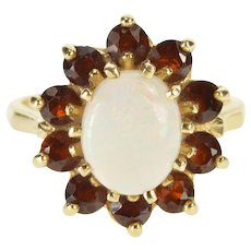 14K Oval Natural Opal Garnet Halo Cocktail Fashion Ring Size 6.5 Yellow Gold [QWXR]