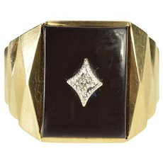 10K Retro 1960's Black Onyx Diamond Geometric Ring Size 9 Yellow Gold [QWXR]