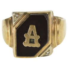 10K 1940's Black Onyx Diamond A Initial Monogram Ring Size 11.75 Yellow Gold [QWXR]
