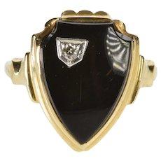 10K Black Onyx Diamond Overlay Shield Signet Ring Size 5.75 Yellow Gold [QWXR]