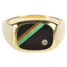 10K Onyx Malachite Tiger's Eye Diamond Men's Ring Size 13.25 Yellow Gold [QWXR]