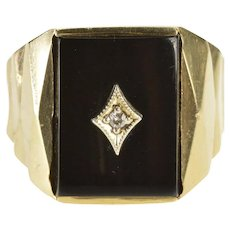 10K 1960's Retro Black Onyx Diamond Geometric Ring Size 9 Yellow Gold [QWXR]