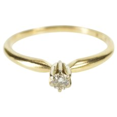 14K Diamond Solitaire Classic Promise Engagement Ring Size 5.75 Yellow Gold [QWXR]