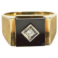 10K Men's 1960's Black Onyx Diamond Concave Ring Size 11 Yellow Gold [QWXR]