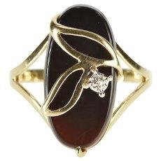 10K Oval Black Onyx Diamond Leaf Overlay Fashion Ring Size 7.75 Yellow Gold [QWXR]