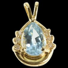 14K Pear Blue Topaz Diamond December Birthstone Pendant Yellow Gold [QRXW]