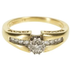14K 0.25 Ctw Diamond Cluster Promise Engagement Ring Size 7.25 Yellow Gold [QWXR]