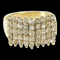 10K 1.00 Ctw Tiered Square Chevron Cluster Band Ring Size 6 Yellow Gold [QRXW]