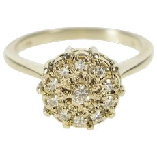 14K 0.36 Ctw Round Diamond Cluster Engagement Ring Size 6.75 Yellow Gold [QWXR]