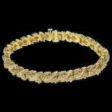 "14K 5.10 Ctw Diamond Encrusted Ornate Tennis Bracelet 7.25"" Yellow Gold  [QWQC]"