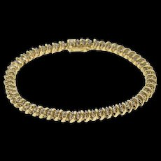 "10K 2.00 Ctw Diamond Rounded Wavy Link Tennis Bracelet 7"" Yellow Gold  [QWQC]"