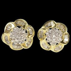 14K 1.50 Ctw Diamond Flower Cluster French Clip Earrings Yellow Gold  [QWQC]