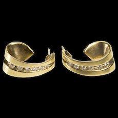14K 0.20 Ctw Diamond Channel Wave Dangle Earrings Yellow Gold  [QWQC]