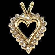 10K 0.20 Ctw Diamond Halo Heart Romantic Gift Pendant Yellow Gold [QRXP]