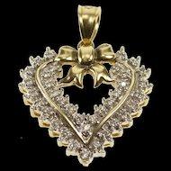14K 1.00 Ctw Retro Ornate Diamond Heart Bow Pendant Yellow Gold [QRXP]