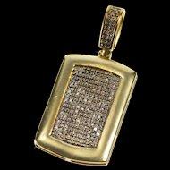 10K 1.00 Ctw Black Diamond Pave Dog Tag Design Pendant Yellow Gold [QRXP]