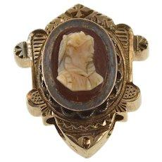 10K Victorian Ornate Carved Cameo Slide Bracelet Charm/Pendant Yellow Gold  [QWXR]