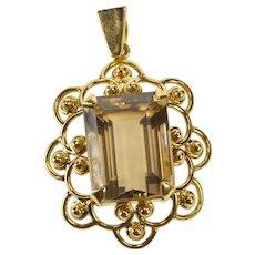 14K Emerald Cut Smoky Quartz Ornate Scalloped Trim Pendant Yellow Gold  [QWXR]