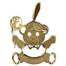 14K Stylized Teddy Bear Balloon Child Baby Charm/Pendant Yellow Gold [QRXW]